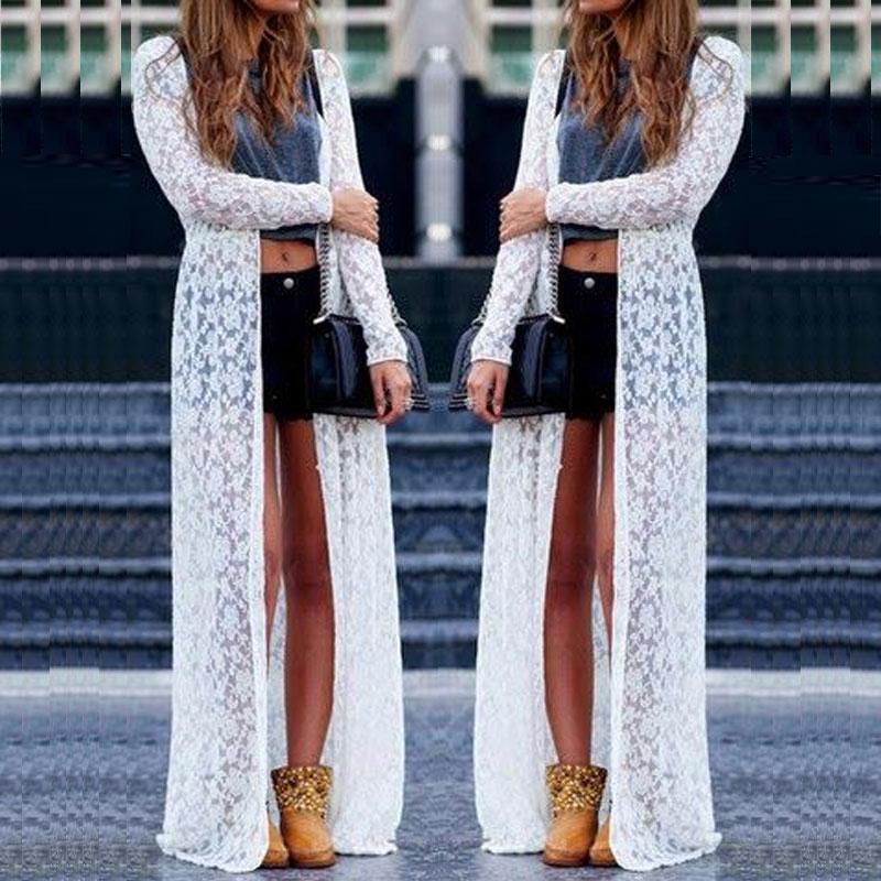 32b60cdbf2 Details about Women's Summer Open Front Jacket Coat Lace Crochet Long Maxi  Cardigan Plus Size