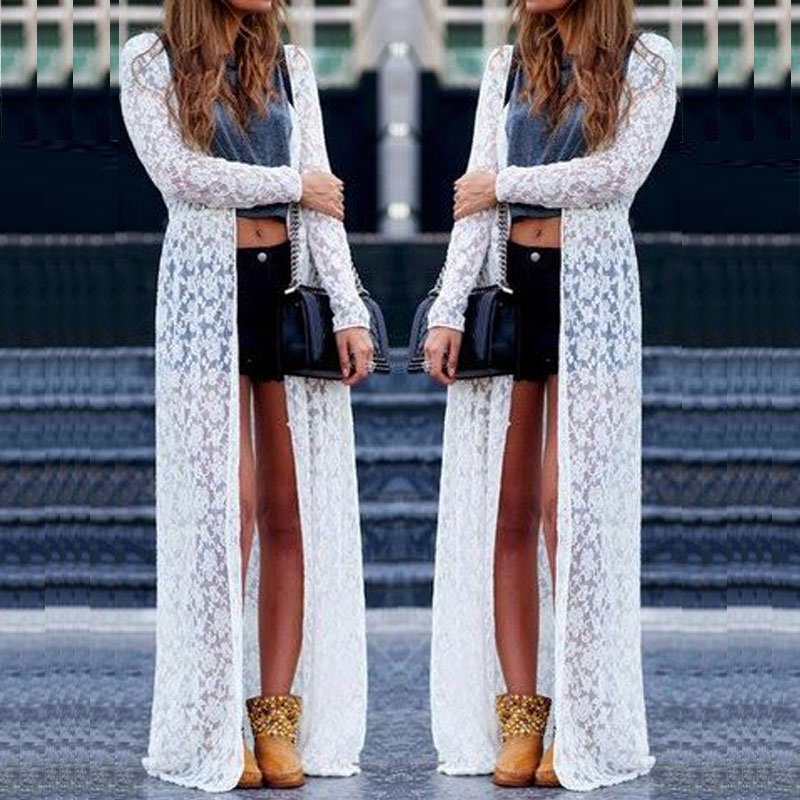 UK Women Lace Sheer Crochet Long Sleeve Clubwear Kimono Coat ...