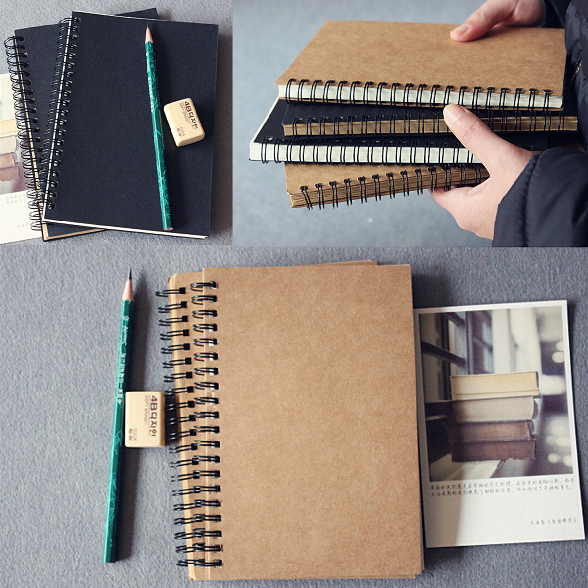 Retro spiral bound coil sketch book blank notebook kraft sketching detail image solutioingenieria