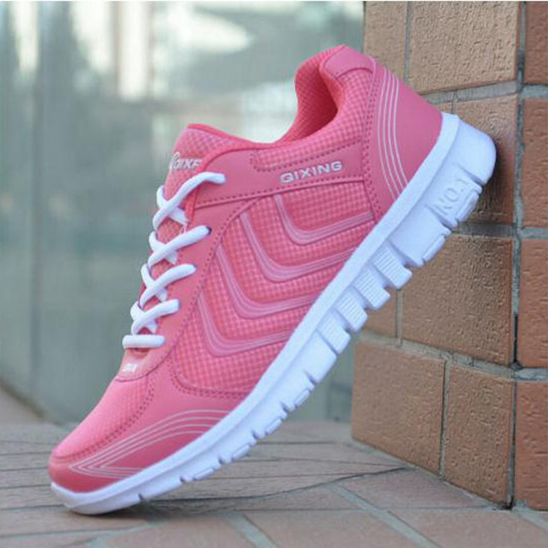 New Womens Sneakers Sport Breathable fly knitting Casual Running Shoes Boost Rose