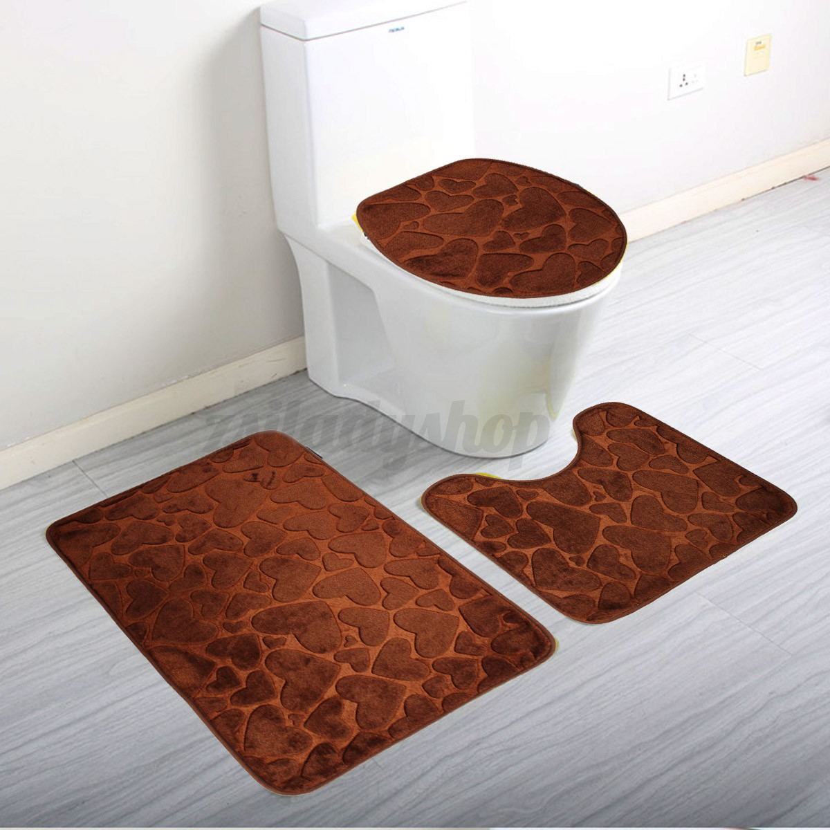 Floor rugs sets soft 3 pieces toilet bath mat lid non slip for Washroom set