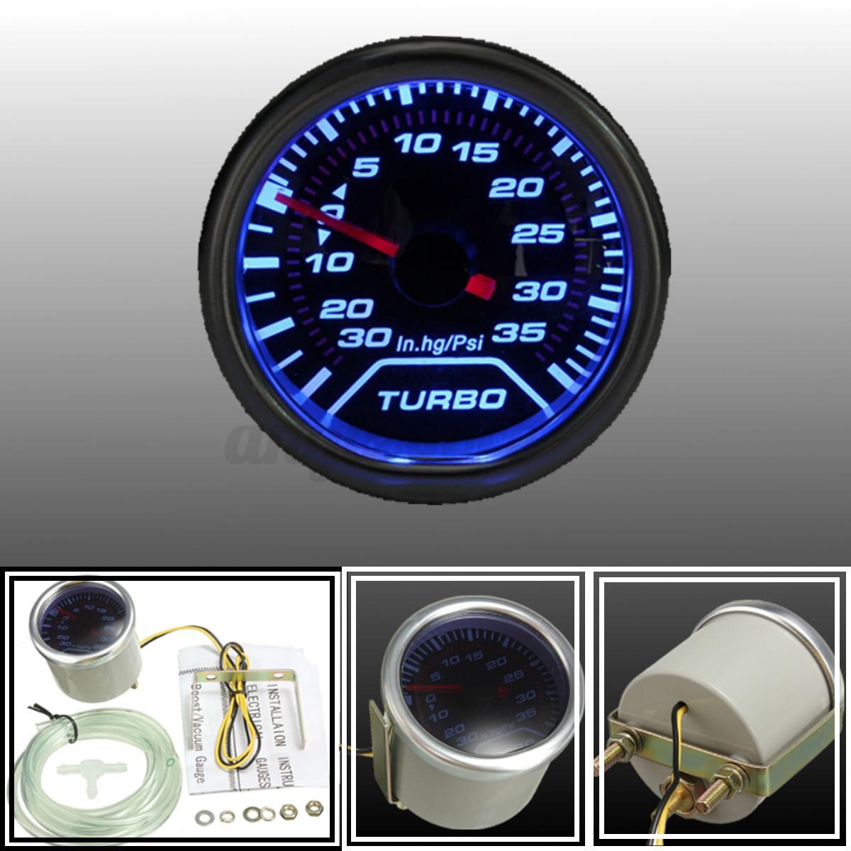 "12V 2/"" 52mm Auto Car Turbo Boost Gauge Vacuum Press Meter Blue LED 0~30PSI R8A9"