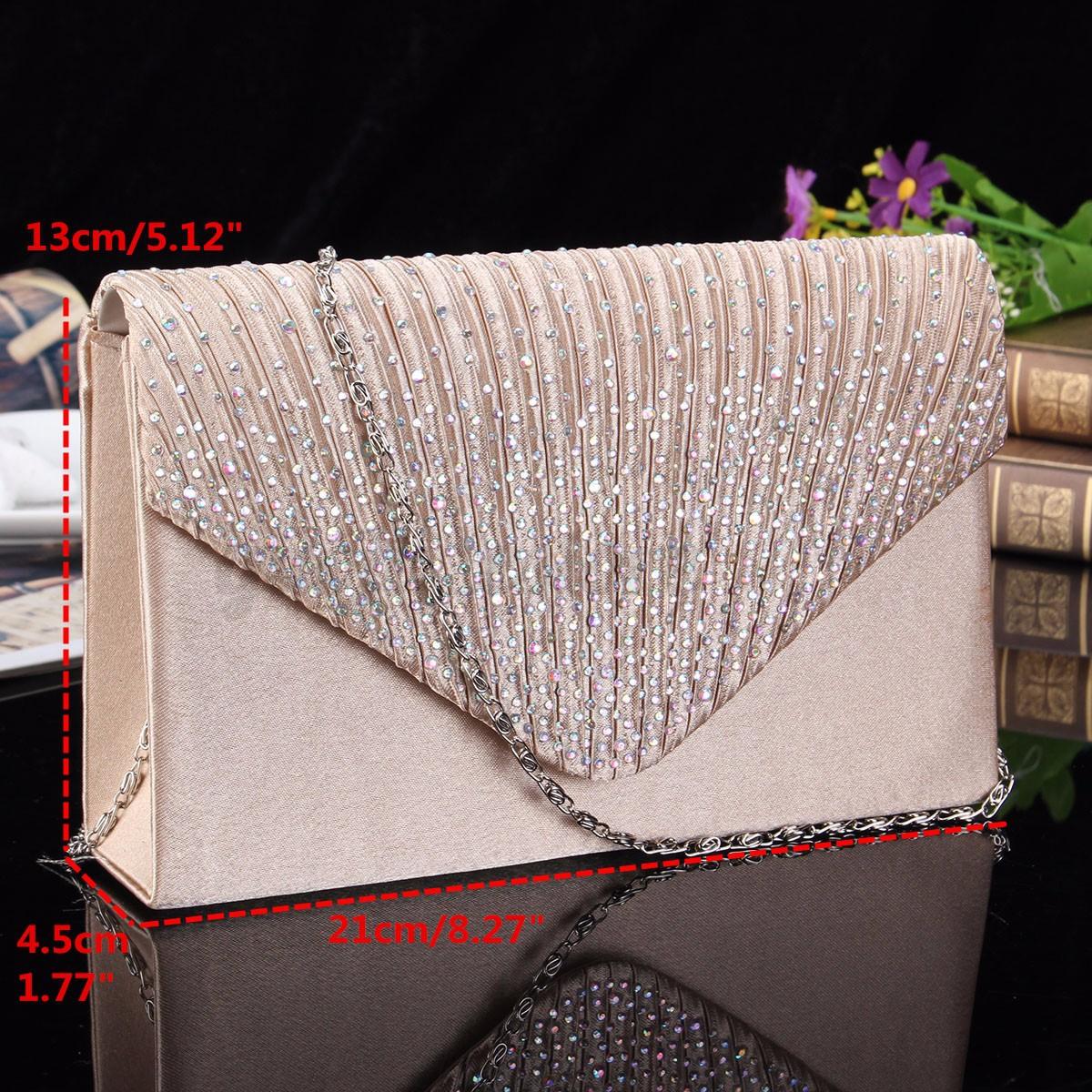 US-Women-Evening-Bag-Satin-Bridal-Clutch-Party-Envelope-Bag-Handbag-Small-Purse thumbnail 5