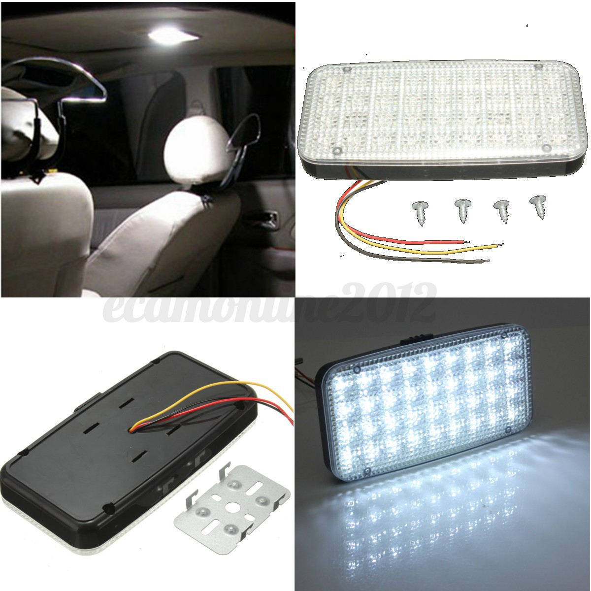 car vehicle ceiling dome roof interior white 12v 36 led rectangle reading light ebay. Black Bedroom Furniture Sets. Home Design Ideas