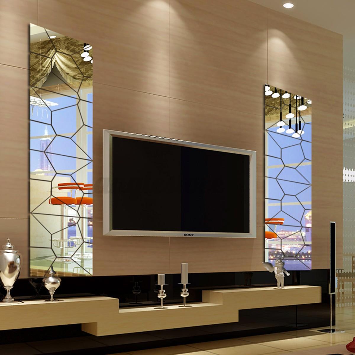 DIY 3D Acrylic Modern Mirror Decal Art Mural Wall Sticker Ho