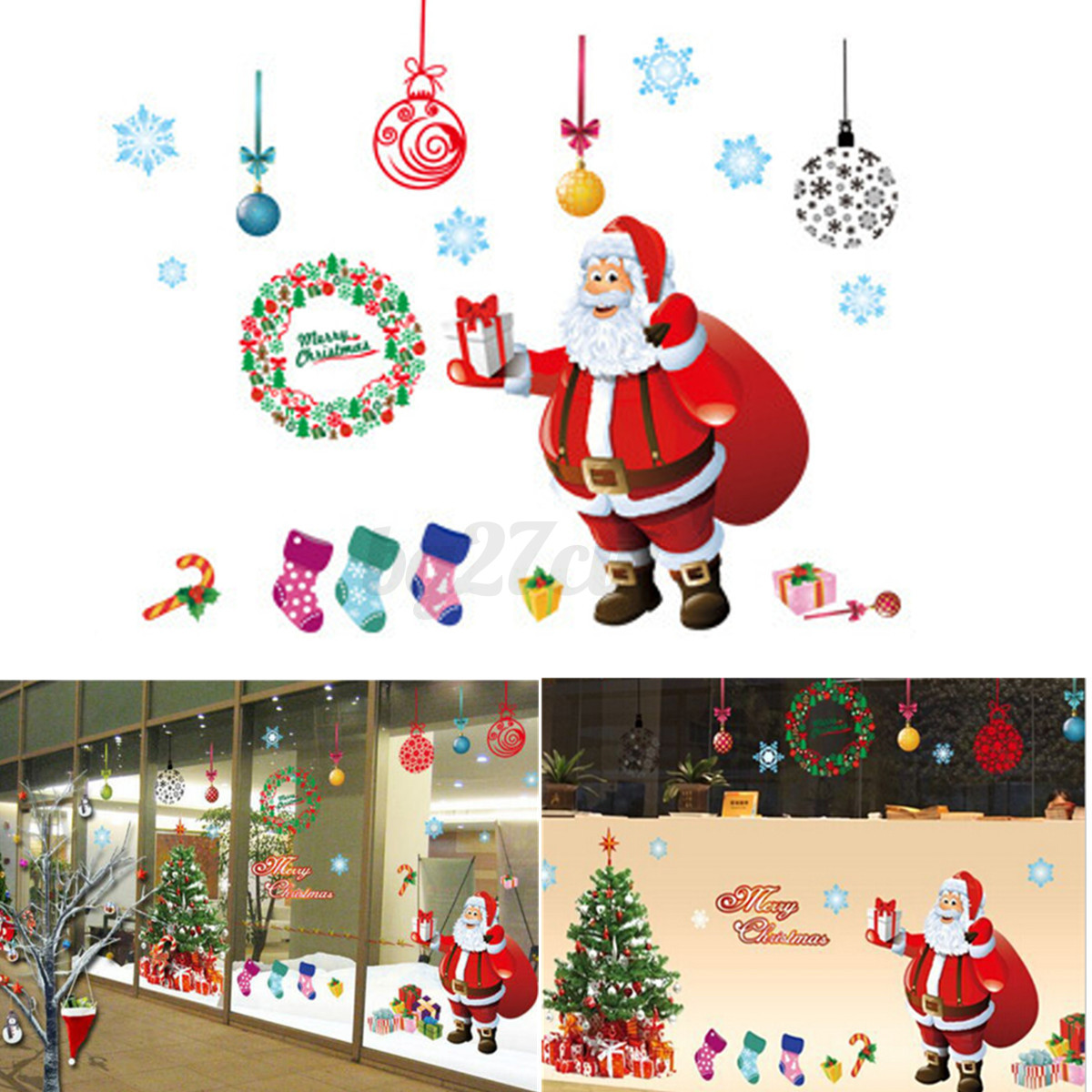 Large christmas tree wall stickers window decal mural for Christmas tree mural