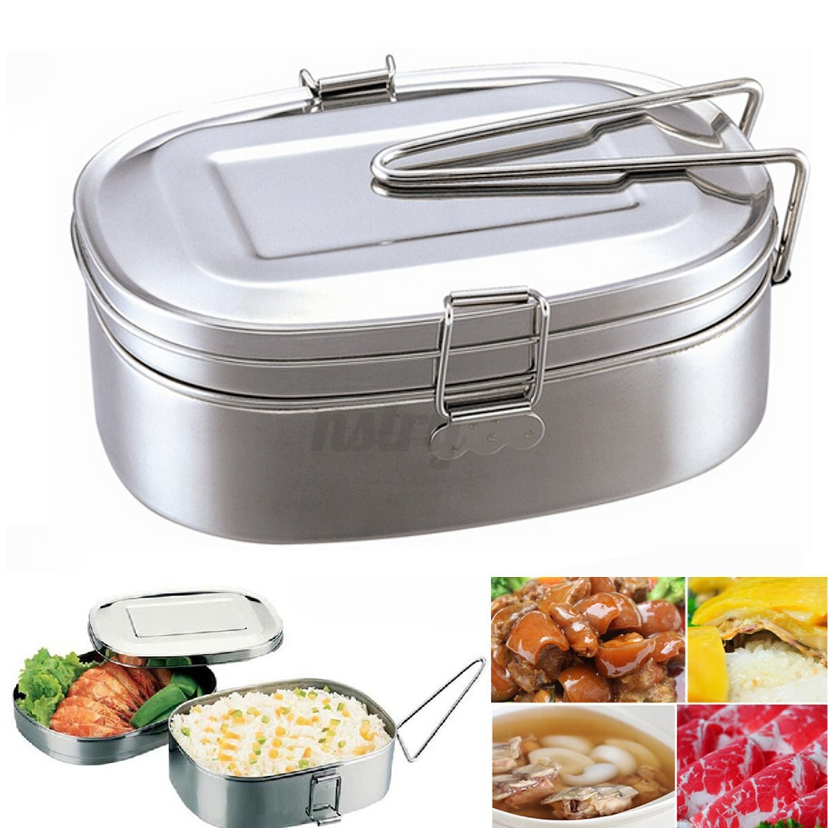 au 2 layer stainless food picnic container handle case bento carry lunch box ebay. Black Bedroom Furniture Sets. Home Design Ideas