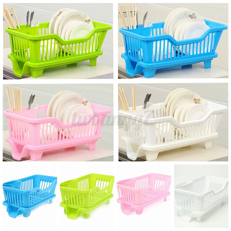 4-Color Kitchen Sink Dish Plate Drainer Drying Basket Holder Rack ...