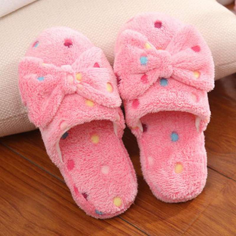 841c199d2a6 Women s Winter Warm Soft Bowknot Bedroom Slippers Shoes House Indoor Floor  Shoes