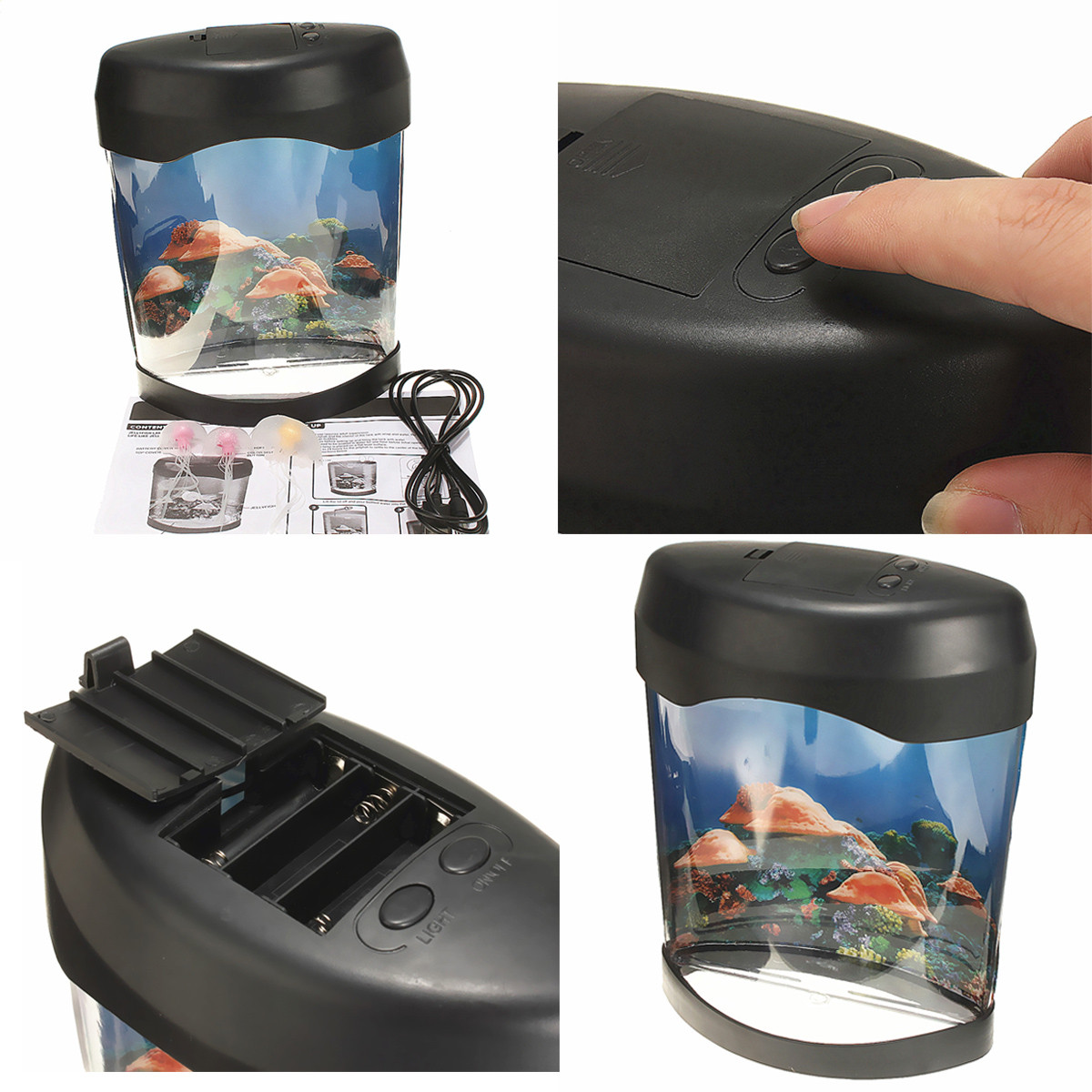 Sea Tank Lamp Nightlight Jellyfish World Mood Swimming Light Led n0m8Nw