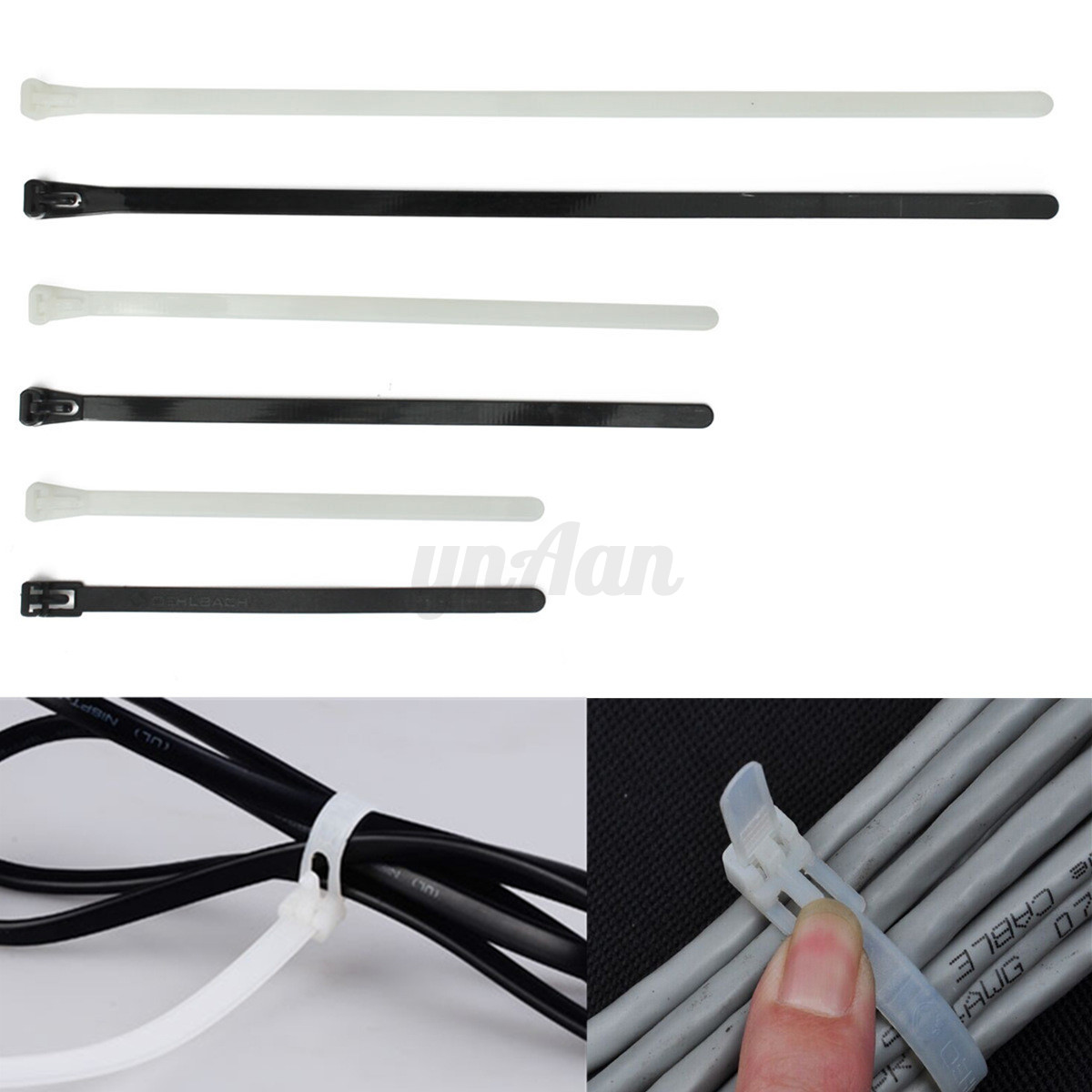 100pcs Nylon Plastic Releasable Reusable Cable Tie Zip
