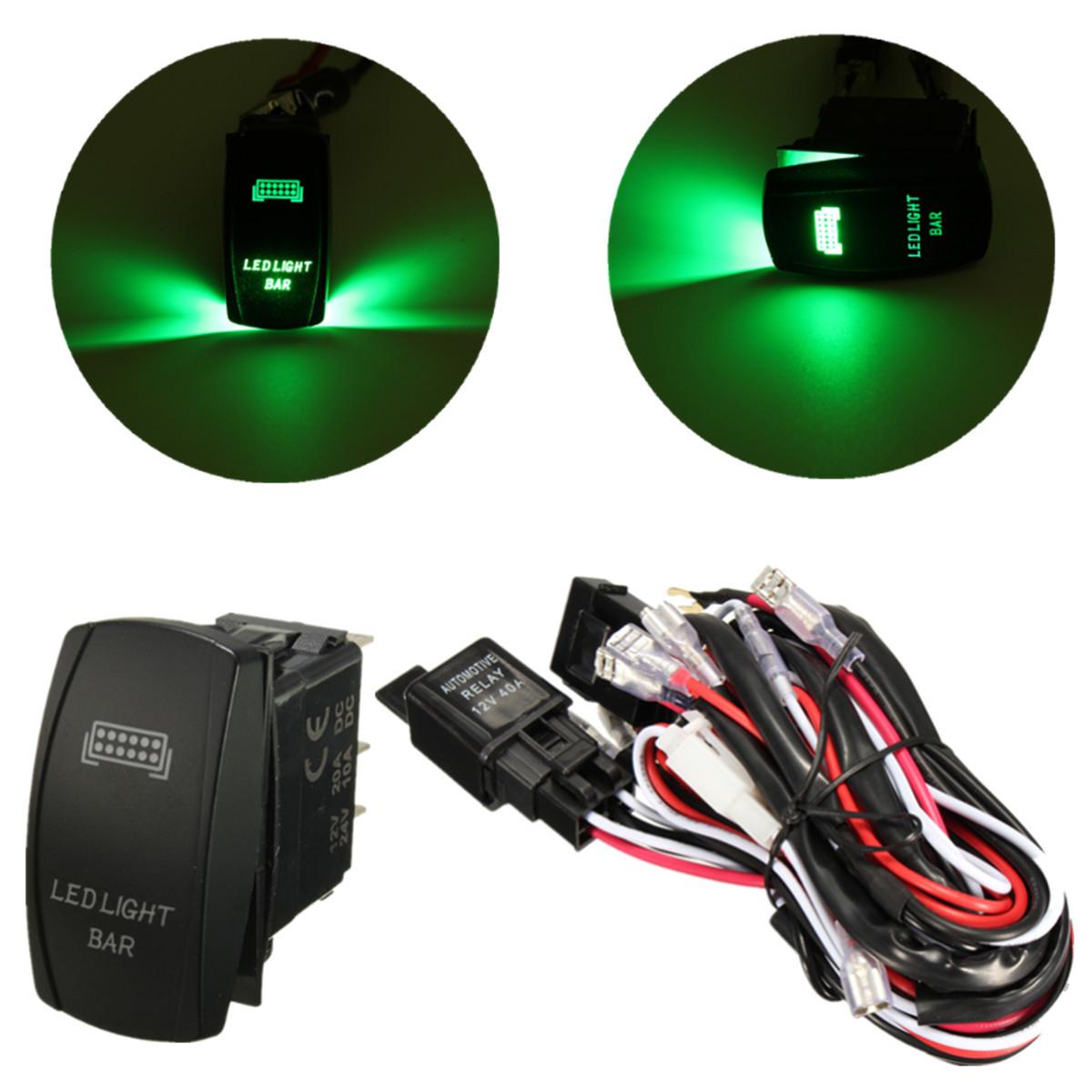 12v wiring harness green led light bar laser rocker switch. Black Bedroom Furniture Sets. Home Design Ideas