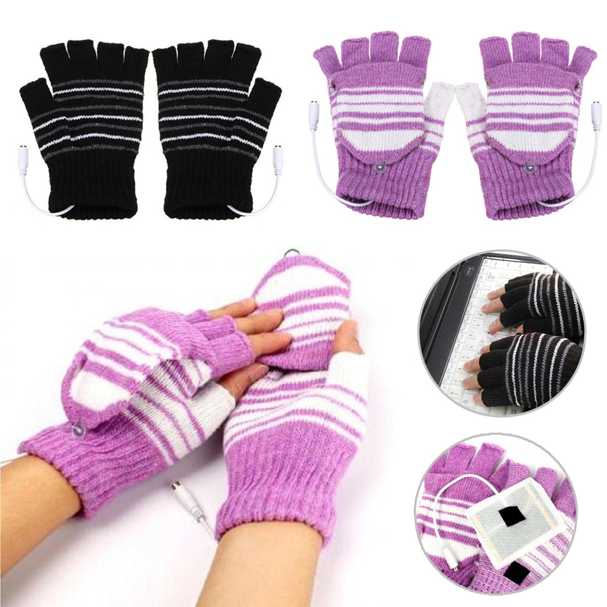 77BE USB Heated Warm Gloves Half Finger Winter Heating Knitting Mittens