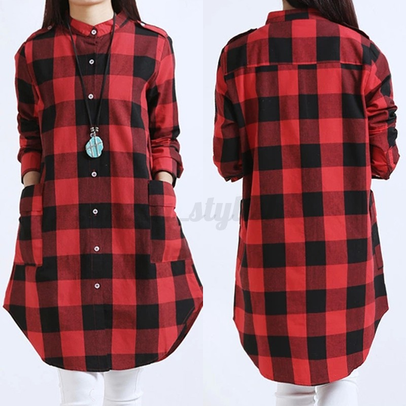 Women-Casual-Long-Sleeve-Plaid-Check-Tops-Tunic-Blouse-T-Shirt-Mini-Dress-Shirt