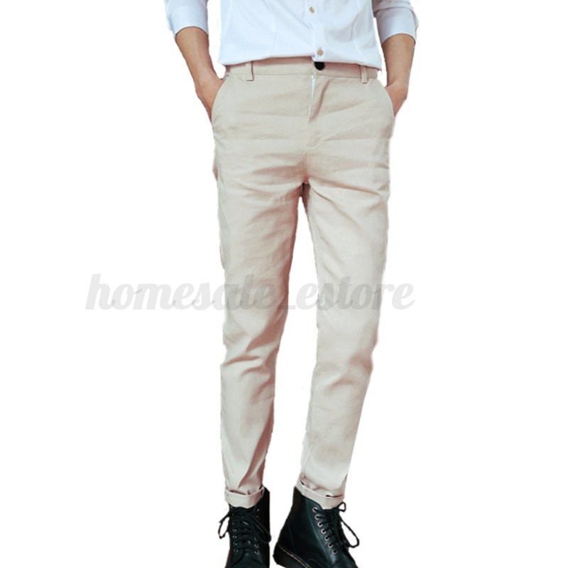 men 39 s casual slim fit pants straight pencil stretch work. Black Bedroom Furniture Sets. Home Design Ideas