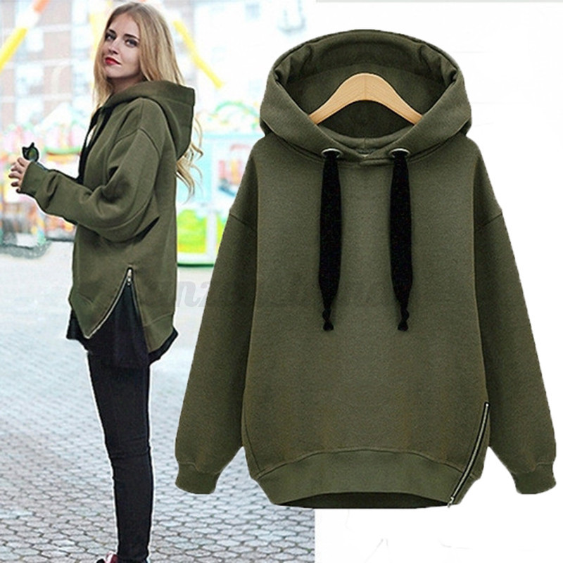 uk 8 24 women oversized long sleeve hoodies sweatshirt long tops pullover coat ebay. Black Bedroom Furniture Sets. Home Design Ideas