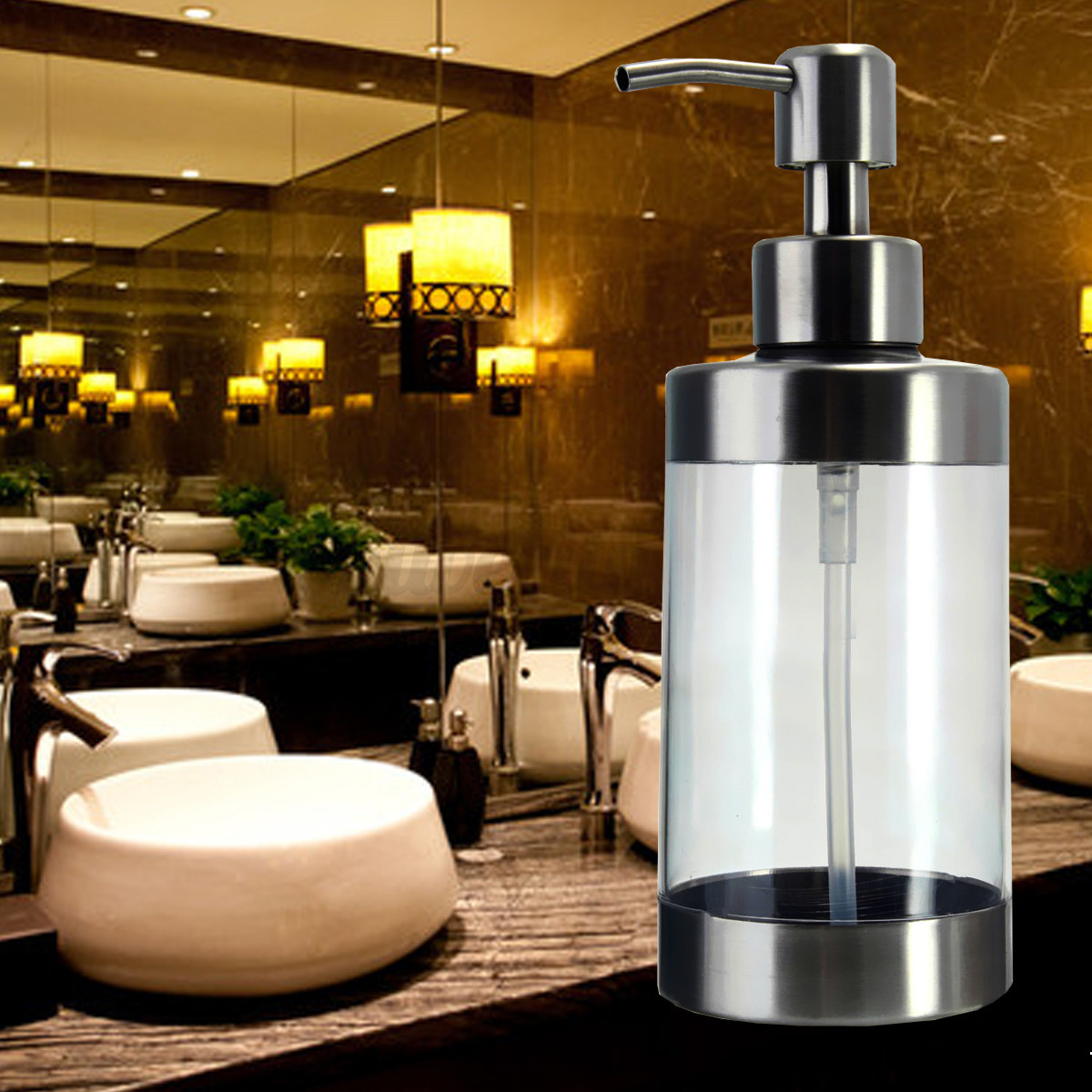 Stainless soap dispenser liquid foaming jar foamer pump for Bathroom bottles