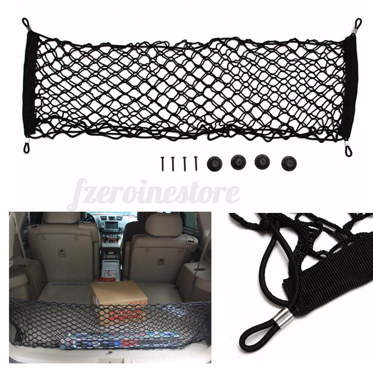 4 hook universal car trunk storage cargo luggage elastic mesh elastic net holder ebay. Black Bedroom Furniture Sets. Home Design Ideas