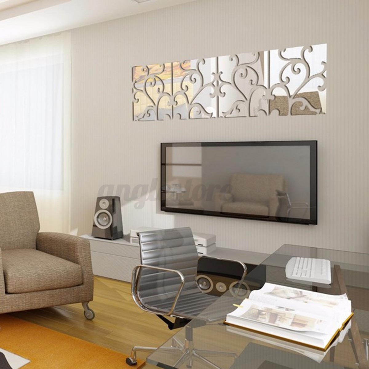32pcs 3D Vine Mirror Wall Stickers Art Acrylic Tile Decal Home Decor Removable 5