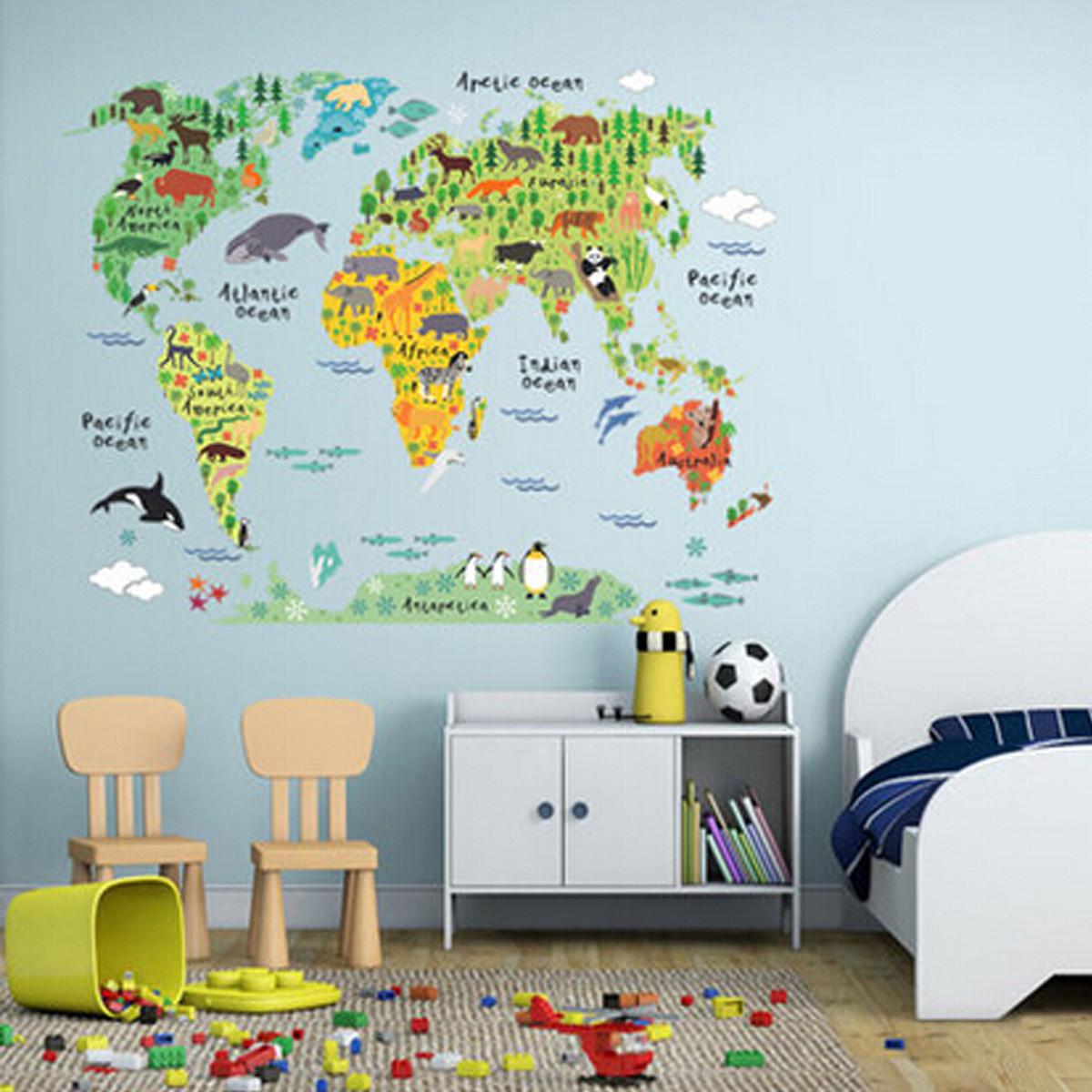 World Map Wall Decal Kids.Animal Educational World Map Wall Sticker Decal For Kids Baby