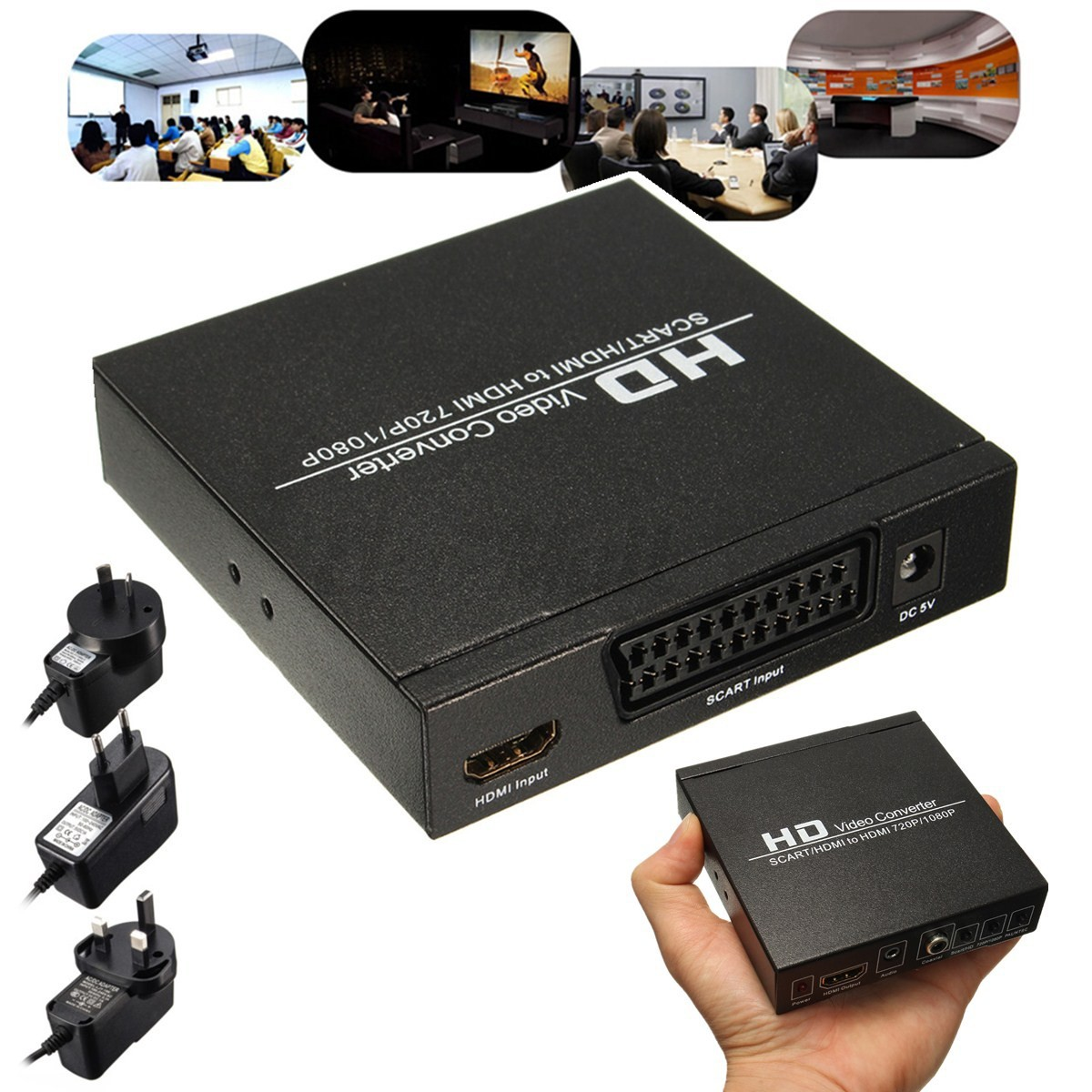 scart hdmi to hdmi 720p 1080p hd video converter adapter monitor box for dvd stb ebay. Black Bedroom Furniture Sets. Home Design Ideas