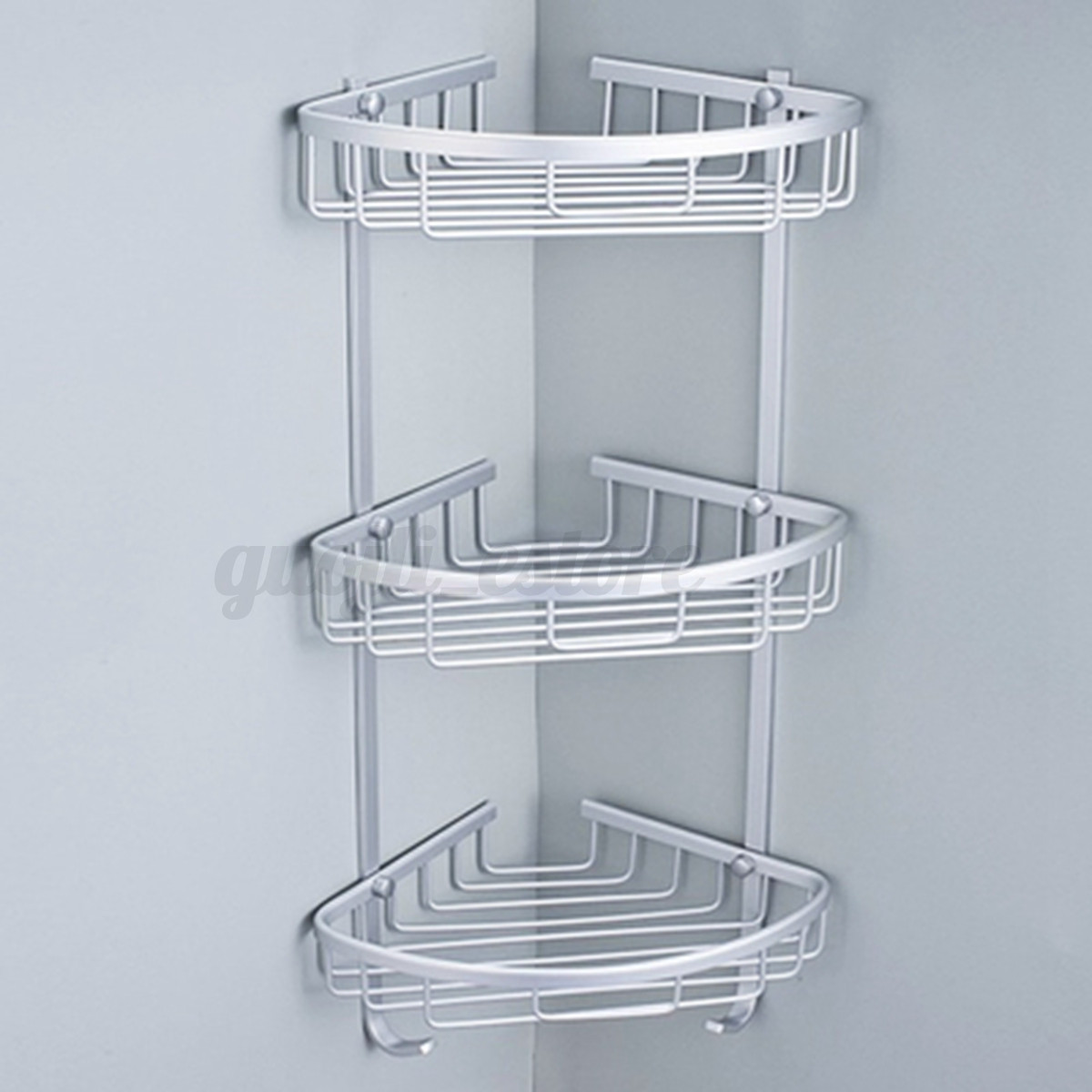 Aluminum Bathroom Corner Shelf Rack Shower Organiser Shampoo Basket ...