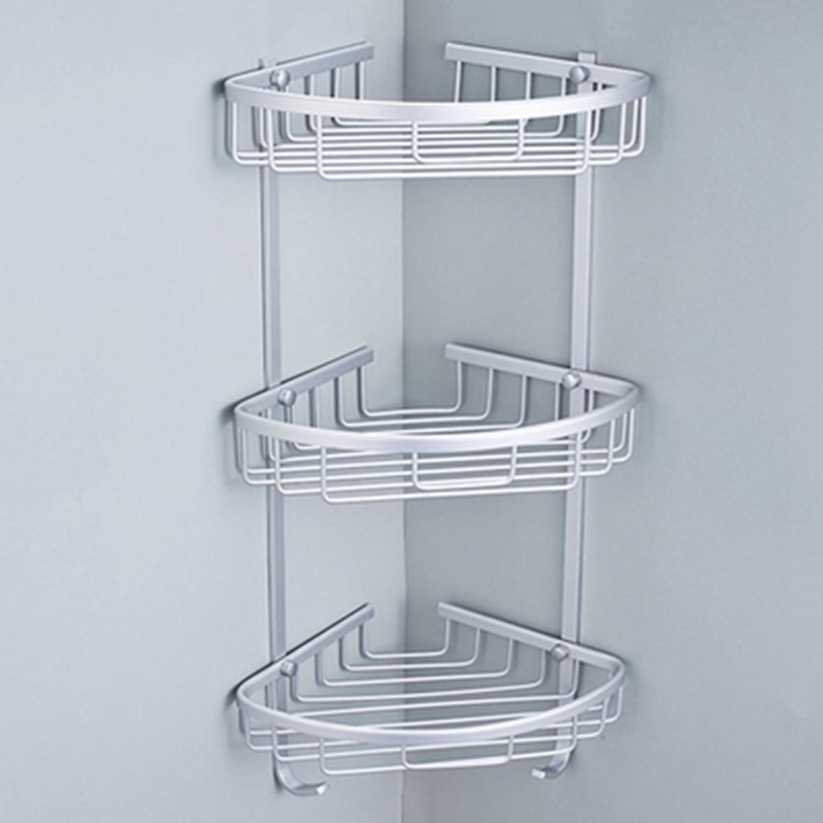 3 Tier Aluminum Bathroom Corner Shower Shelf Rack Organiser Caddy ...