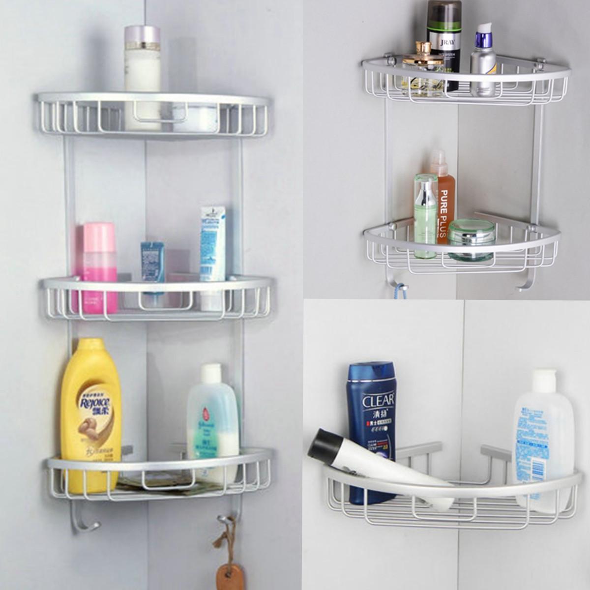 Plastic Suction Cup Bathroom Kitchen Corner Storage Rack Shower Shelf Holder BT