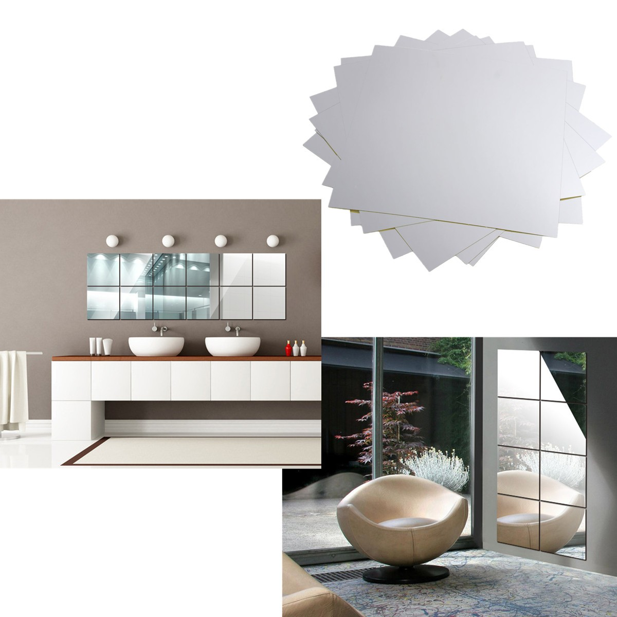 9X Big Square Mirror Tile Wall Stickers 3D Decal Mosaic ...