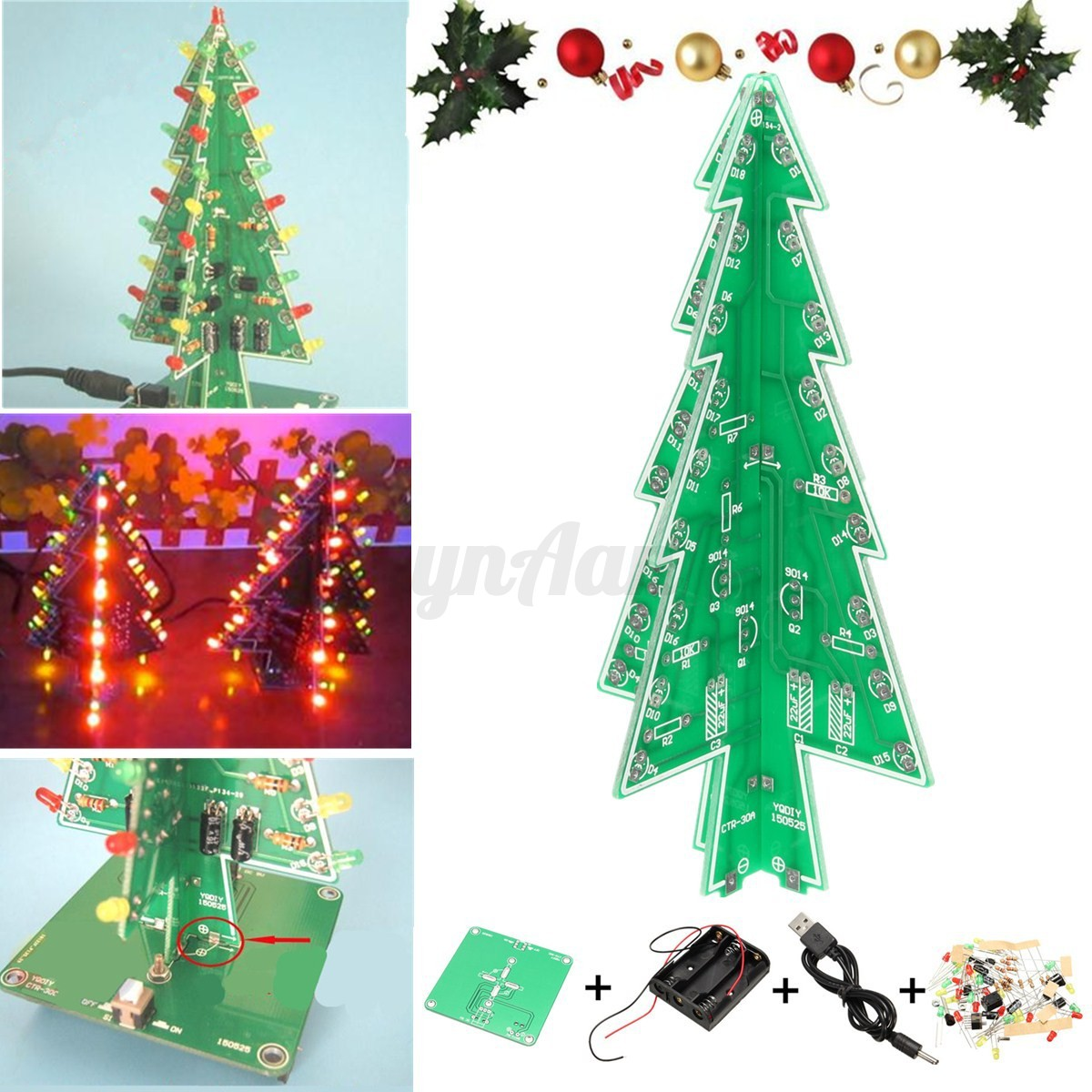 Christmas tree led flashing light diy kit circuit board for Red and yellow christmas tree