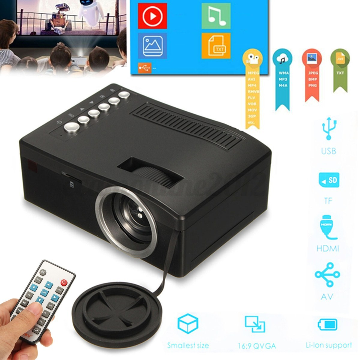 Mini led lcd projector hd 1080p home theater hdmi usb tf for Usb pocket projector