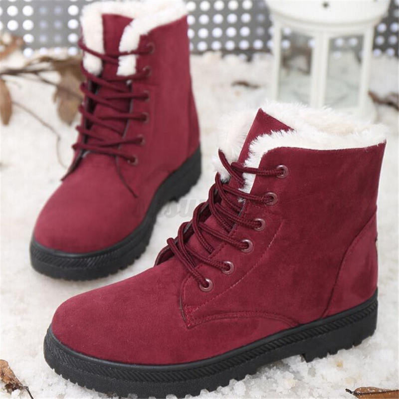 AU-2018-Winter-Womens-Fur-Lined-Boots-Flat-Lace-Up-Warm-Snow-Ankle-Boots-Shoes