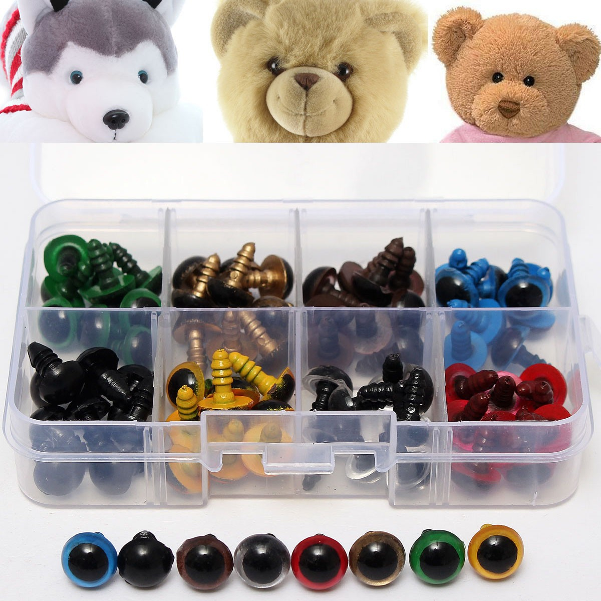 80pcs 8 Mixed Color Plastic Safety Eyes Washers for Animal Toy Teddy Bea EVT