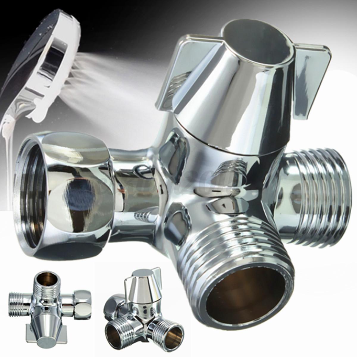 Details About G1 2 Brass Chrome 3 Way T Adapter Shower Head Diverter Valve Shower Head Combo