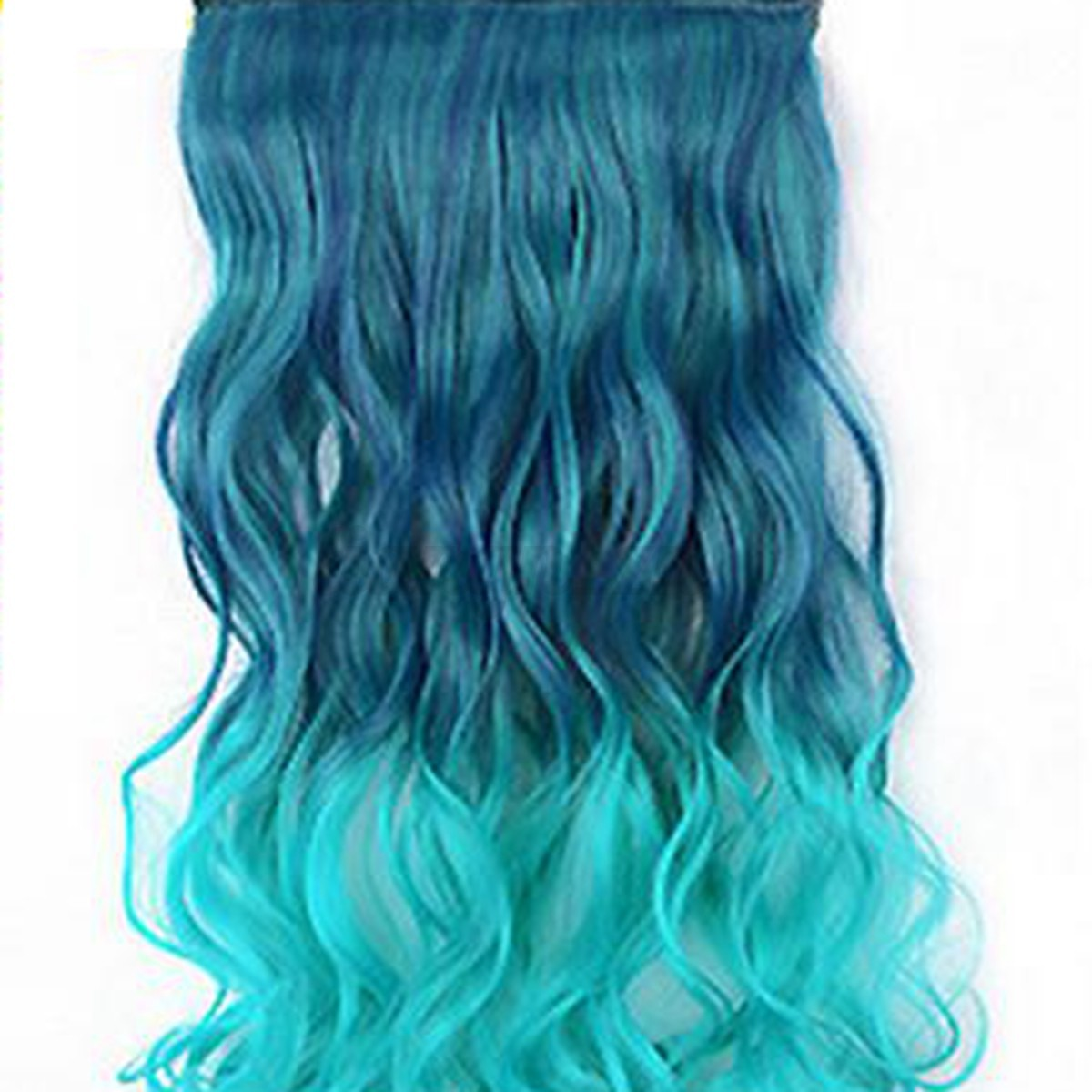 Cheveux-Extensions-Clip-Colore-Cosplay-Perruque-Ondule-Boucle-Raide-Long-Femme