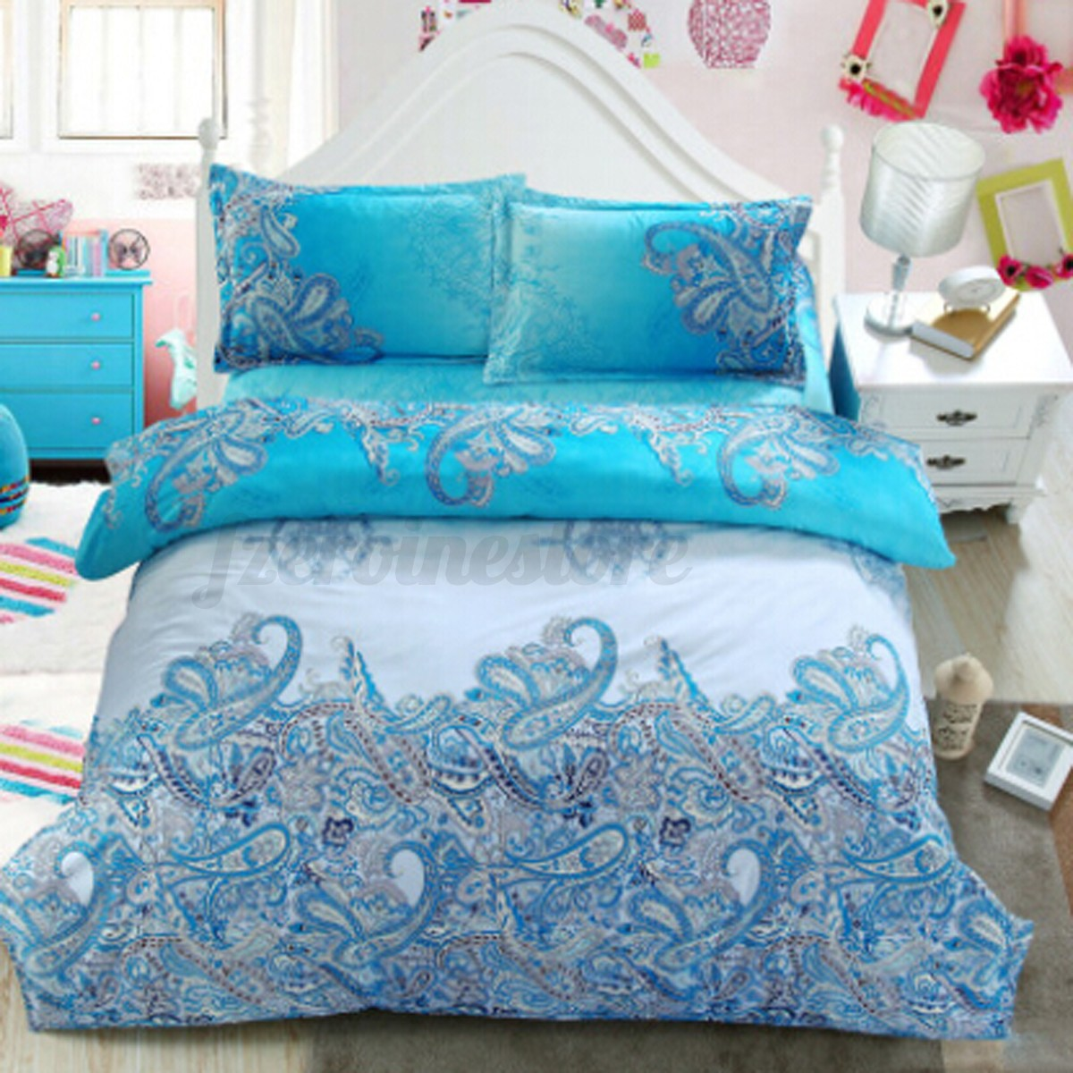 3D-Effect-4-Pcs-Quilt-Duvet-Covers-With-Fitted-Sheet-Bedding-Set-2-Pillow-Case thumbnail 14