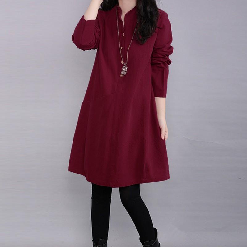 Women-Winter-Pullover-Solid-Tunic-Top-Blouse-Shirt-Kaftan-Boho-Long-Sleeve-Dress