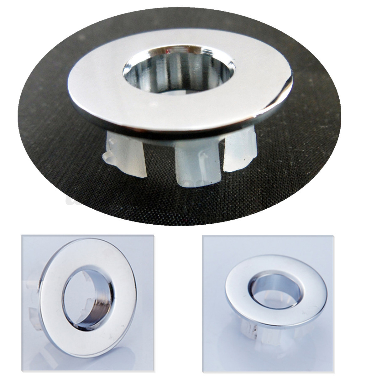 2pcs Bathroom Sink Overflow Trim Ring Chrome Hole Cover