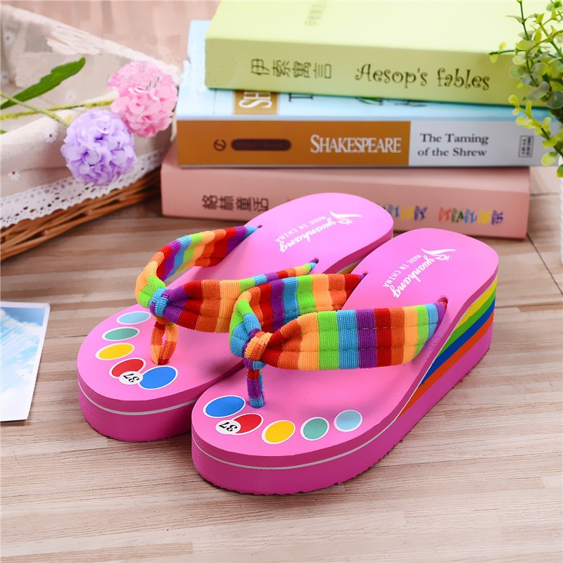 454678c73 Women Wedge Flip Flops Thick Platform High Heel Slippers Thong ...