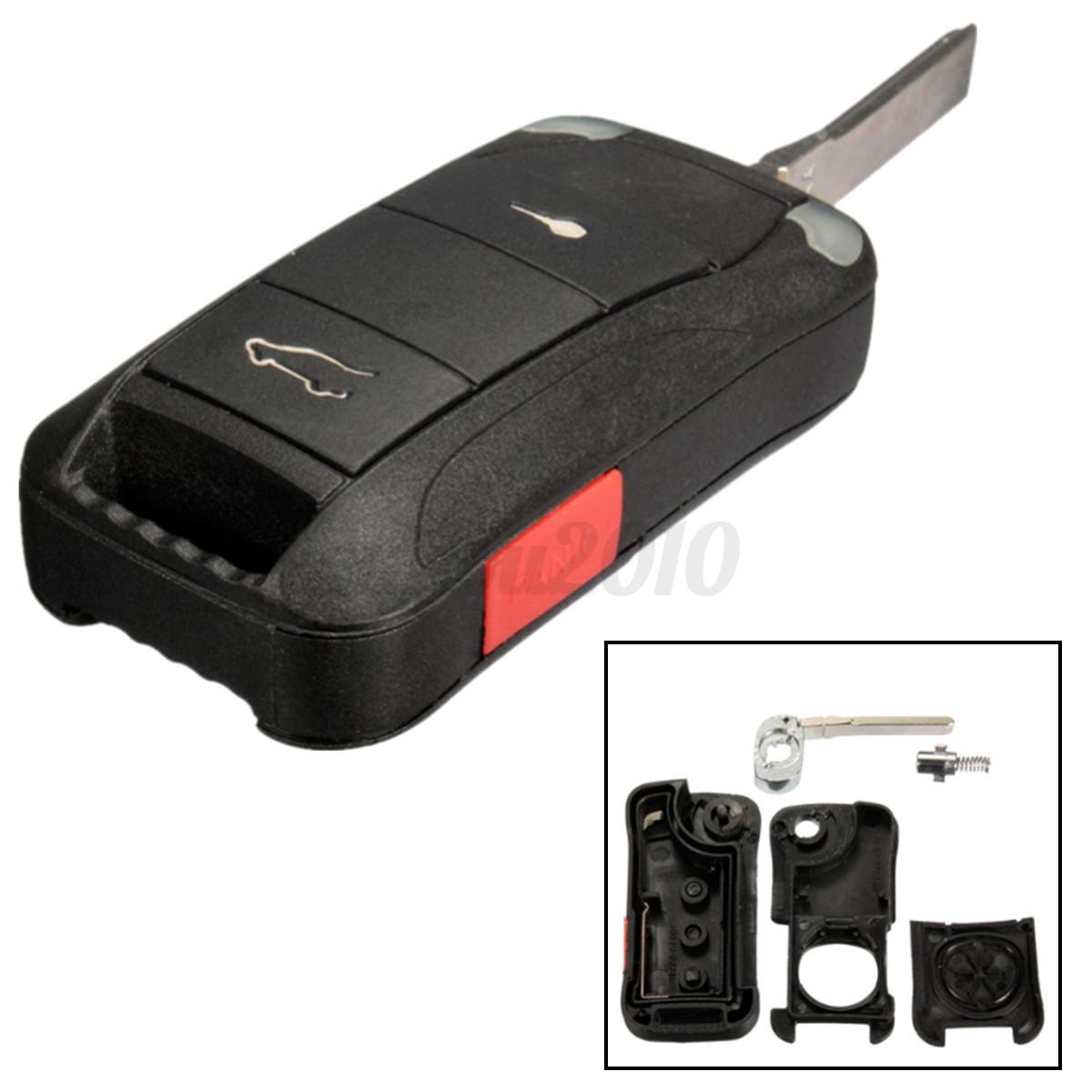 2 Button Folding Remote Key Fob Case Shell Uncut Blade For Porsche Cayenne 03-11