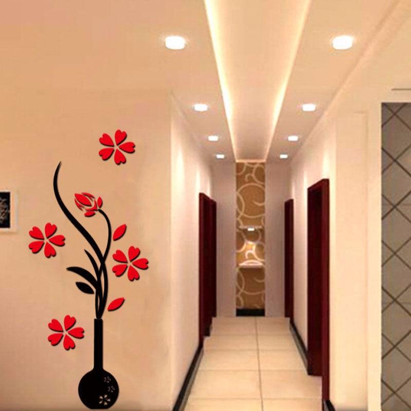 D Mirror Flower Decal Wall Sticker DIY Removable Art Mural Home - Wall decals mirror