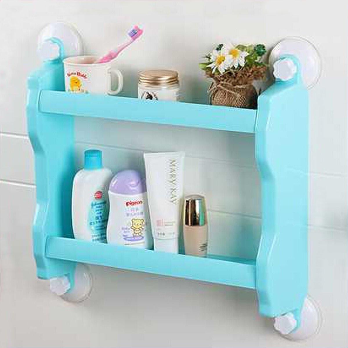 Kitchen Bathroom Shelf Suction Cup Rack Organizer Storage Shower ...