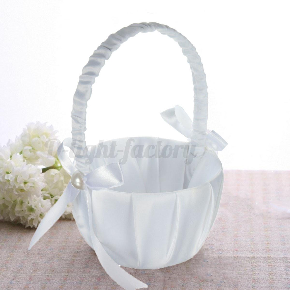 Flower Girl Basket Kit : Romantic white satin bowknot pearl flower girl basket