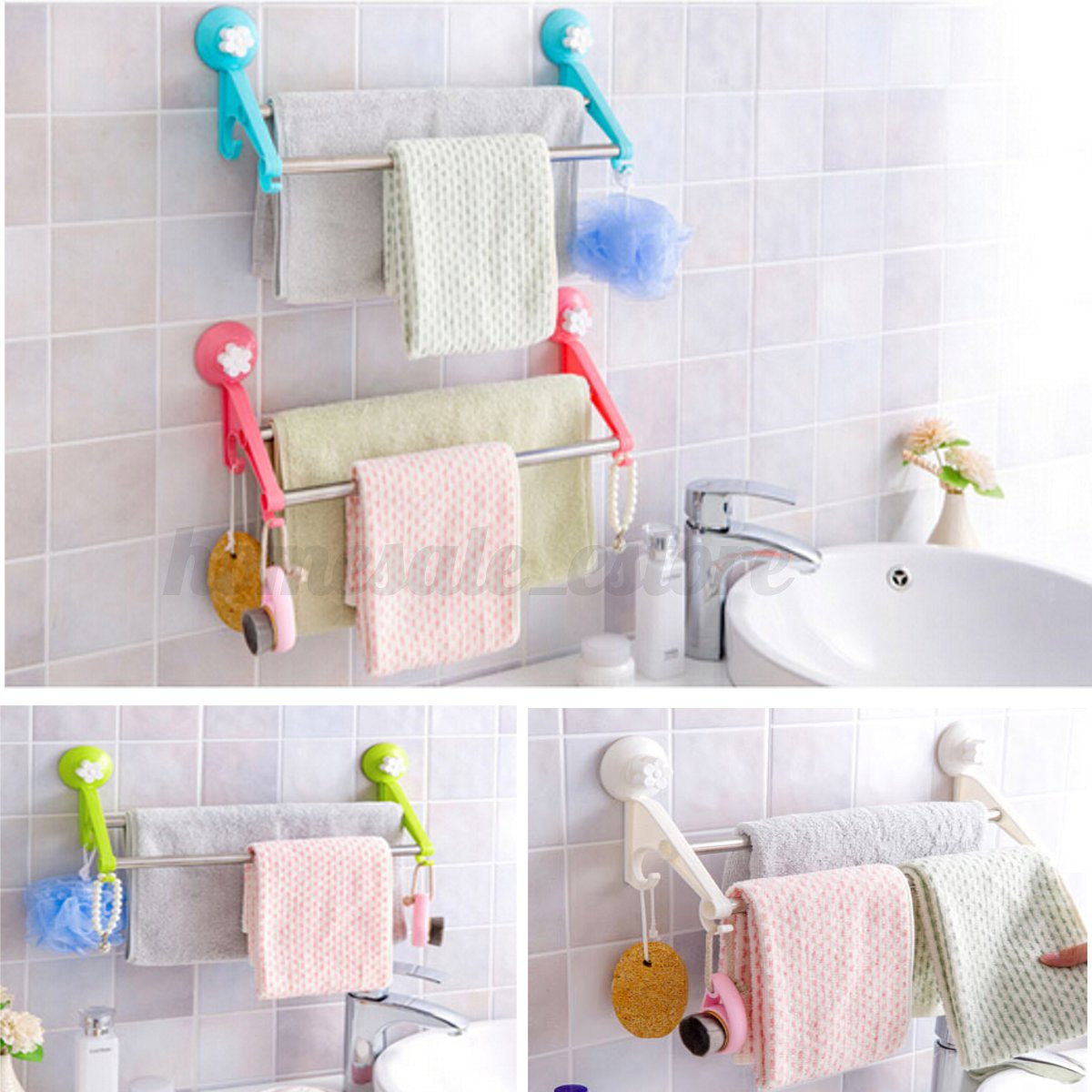 Bathroom Wall Hooks Towels: Plastic Double Wall Mounted Bathroom Rail Towels Shelf