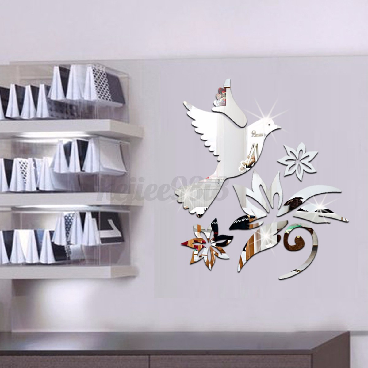 New 3d modern art mirror removable acrylic wall sticker for Diy wall photo mural