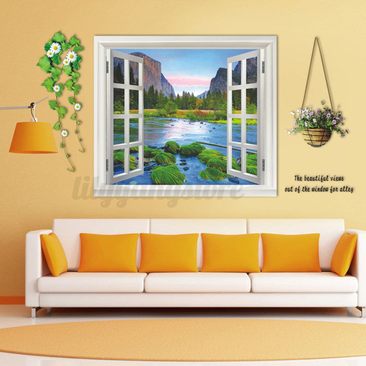 3D Window View Removable Landscape Vinyl Sticker Mural Wall Decal ...