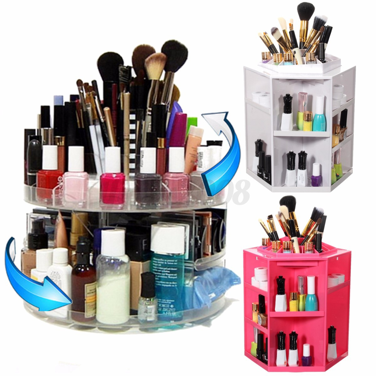 acrylique bo te pr sentoir de maquillage rangement rond organisateur cosm tique eur 15 59. Black Bedroom Furniture Sets. Home Design Ideas