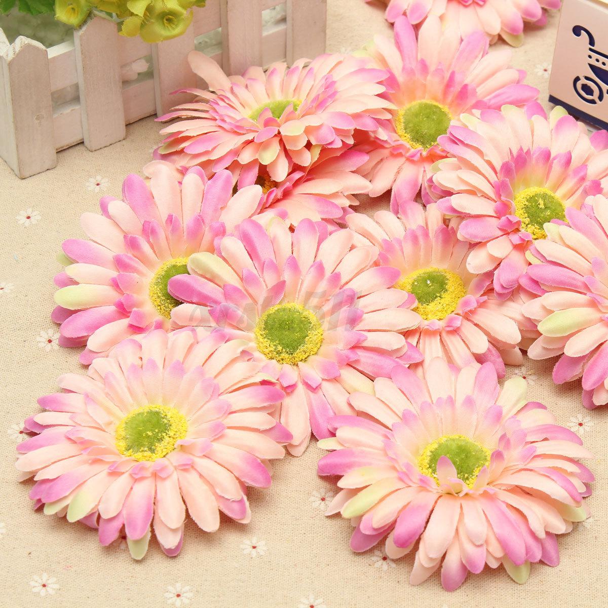 12x Artificial Silk Gerbera Daisy Heads Flower Wedding Party ...
