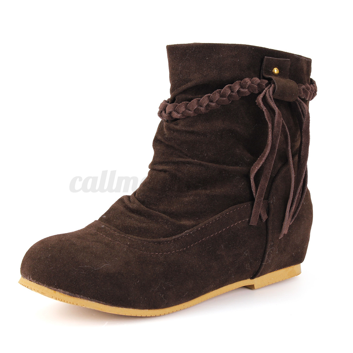 uk 2017 new flat suede tassels ankle boots fringes