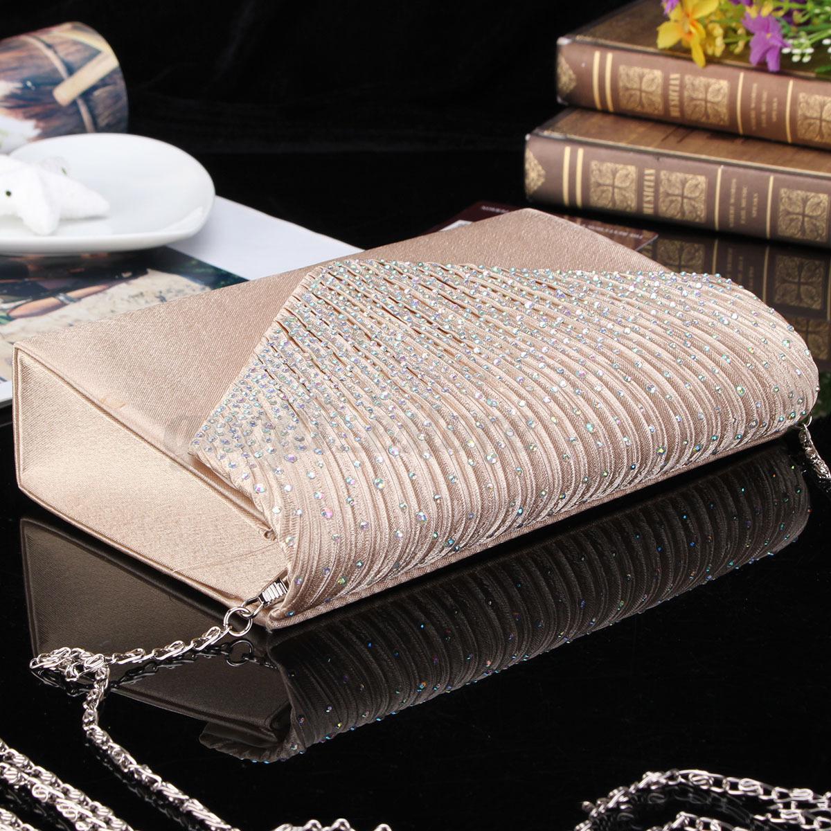 US-Women-Evening-Bag-Satin-Bridal-Clutch-Party-Envelope-Bag-Handbag-Small-Purse thumbnail 6